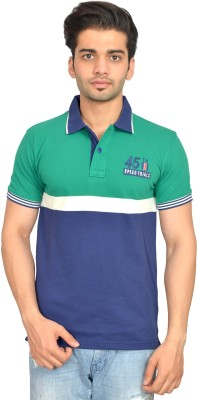 Urban Trail Embroidered Men's Polo Neck Green T-Shirt