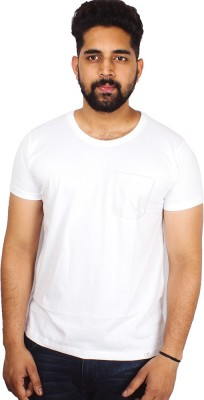 Arcanumz Solid Men's Round Neck White T-Shirt
