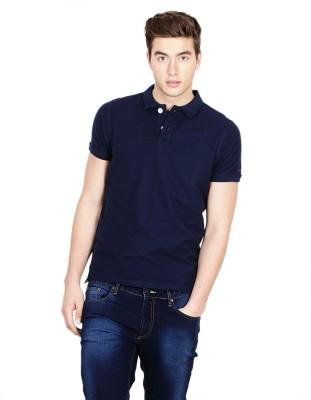 Basics Solid Men's Polo Dark Blue T-Shirt