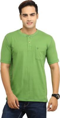 BepoyZ Solid Men's Henley Green T-Shirt