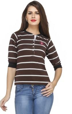 Run of luck Striped Women's Henley Brown T-Shirt