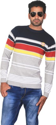 Cotton Stich Striped Men,s Round Neck Multicolor T-Shirt
