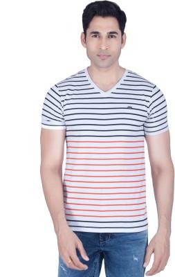 Lawman Striped Men's V-neck Multicolor T-Shirt