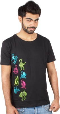 Pulpypapaya Printed Men's Round Neck Black T-Shirt