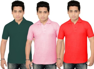 BrandTrendz Solid Men's Polo Neck Green, Pink, Red T-Shirt
