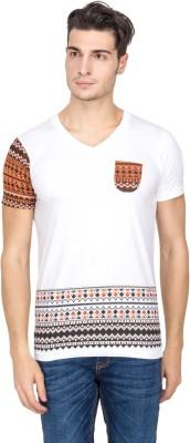 Hi Lite Printed Men's V-neck White T-Shirt