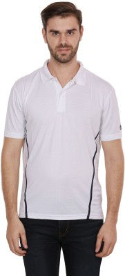 CNMN Solid Men's Polo Neck White T-Shirt