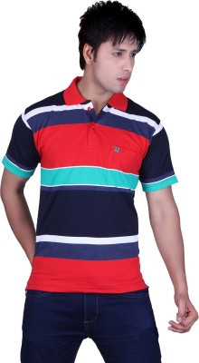 Update Striped Men's Flap Collar Neck Red, Multicolor T-Shirt