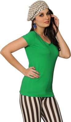 Miss Chase Solid Women's Round Neck Green T-Shirt