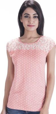Peppermint Blues Self Design Women,s Round Neck Pink T-Shirt