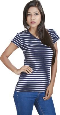 Defossile Striped Women's V-neck Multicolor T-Shirt
