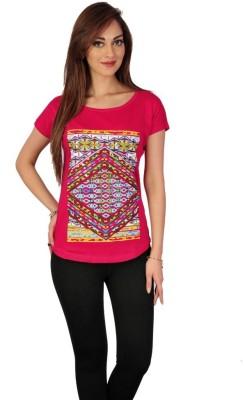 Go-Art Printed Women,s Round Neck Red T-Shirt