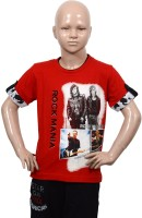 Puppet-Nx Printed Boys Round Neck Red T-Shirt
