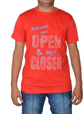 Revinfashions Printed Men's Round Neck Red, Light Blue T-Shirt
