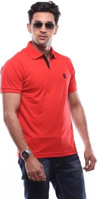 SHAYAN EXPORT Solid Men's Flap Collar Neck Red T-Shirt
