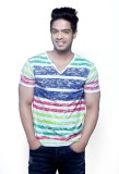 Fashnopolism Striped Men's V-neck Blue T...