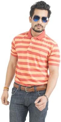 Petroficio Striped Men's Polo Neck Orange T-Shirt