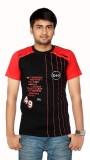 Aaduki Striped Men's Round Neck Black T-...