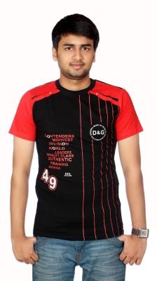 AADUKI Striped Men's Round Neck Black T-Shirt