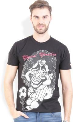 Broken News Printed Men's Round Neck Black T-Shirt