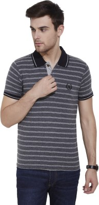 Urban Nomad By INMARK Striped Men's Polo Neck Grey T-Shirt