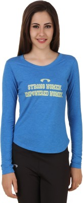 Arcley Solid, Printed Girl's Round Neck Blue T-Shirt