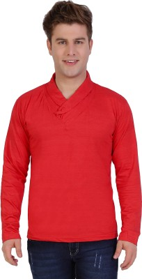 Sciocco Solid Men's Draped Neck Red T-Shirt