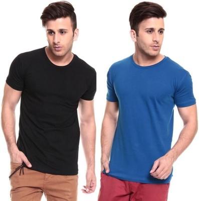Lowcha Solid Men's Round Neck Black, Blue T-Shirt