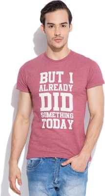 Silly People Graphic Print Men's Round Neck Maroon T-Shirt