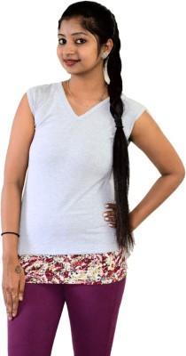 SUPRI Floral Print Women's V-neck Grey T-Shirt