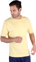 Humbert Solid Men's Round Neck Yellow T-Shirt