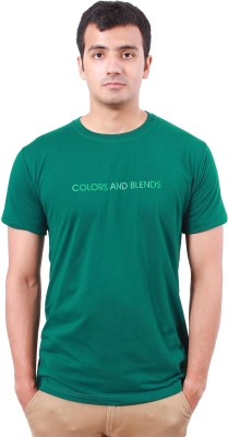 Colors and Blends Printed Men,s Round Neck Green T-Shirt