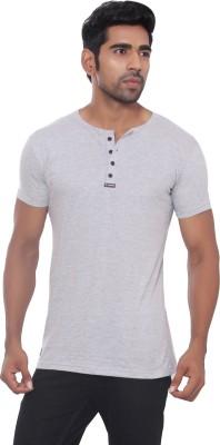 Pezzava Self Design Men's Henley Reversible Grey, Black T-Shirt