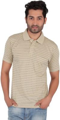 Awack Striped Men's Polo Neck Beige T-Shirt