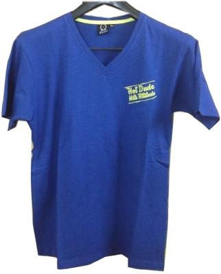 Rools Solid Men's V-neck Blue T-Shirt