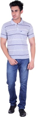 Dearclass Striped Men's Polo Neck Multicolor T-Shirt
