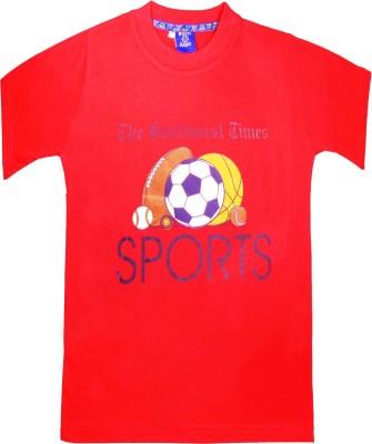 Sweet Angel Printed Boy's Round Neck Red T-Shirt