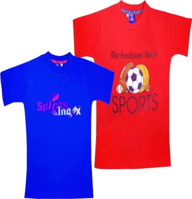 Sweet Angel Printed Boy's Round Neck Blue, Red T-Shirt
