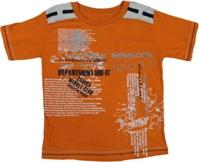Mankoose Printed Boy's Round Neck Orange T-Shirt