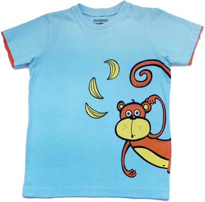 Alicia Souza Animal Print Boy's Round Neck Reversible Blue T-Shirt