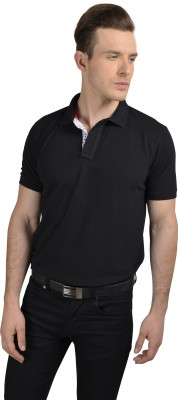 Pacific Time Solid Men's Polo Neck Black T-Shirt