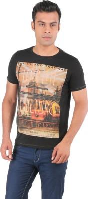 Ice Finger Printed Men,s Round Neck Black T-Shirt