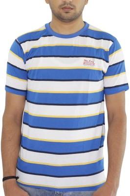 Grey Tree Striped Men,s Round Neck Blue T-Shirt