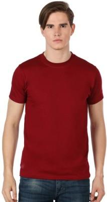 Shootr Solid Men's Round Neck Maroon T-Shirt