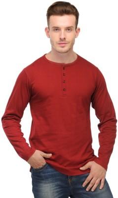 Ansh Fashion Wear Solid Men's Henley Maroon T-Shirt