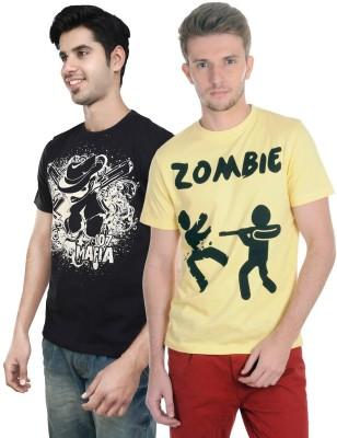 Algotton Graphic Print Men,s Round Neck Black, Yellow T-Shirt