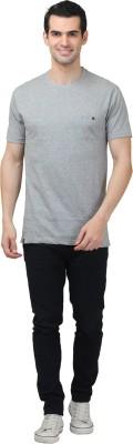 HASH TAGG Self Design Men's Round Neck Grey T-Shirt