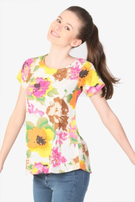 Unimod Floral Print Women's Round Neck White, Pink, Yellow T-Shirt