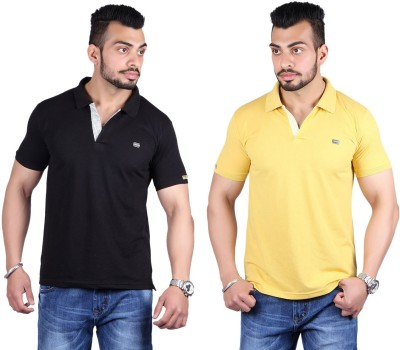 Shineway Solid Men's Polo Neck Black, Gold T-Shirt