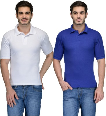 Feed Up Solid Men's Polo Neck Blue, White T-Shirt